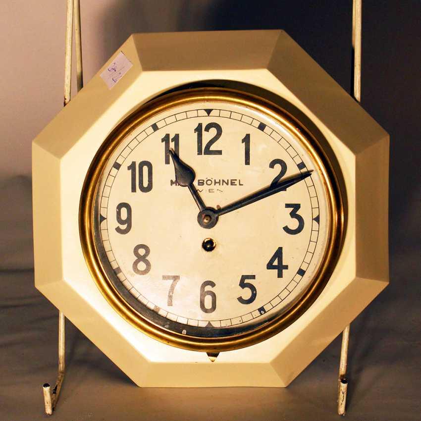 Austrian clock in octagonal iron mantle with Roman numbers and brass door - photo 1