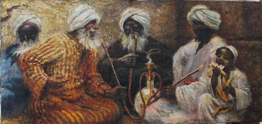 Orientalist early 20th Century, Smoking the water pipe - photo 1