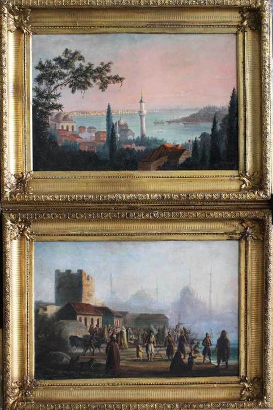 Orientalist late 19th Century, A pair of views of Istambul with the Golden Horn and the Great Mosque - photo 1