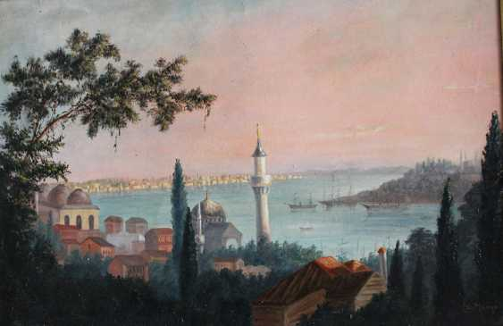 Orientalist late 19th Century, A pair of views of Istambul with the Golden Horn and the Great Mosque - photo 2