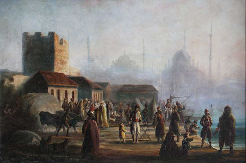 Orientalist late 19th Century, A pair of views of Istambul with the Golden Horn and the Great Mosque - photo 3