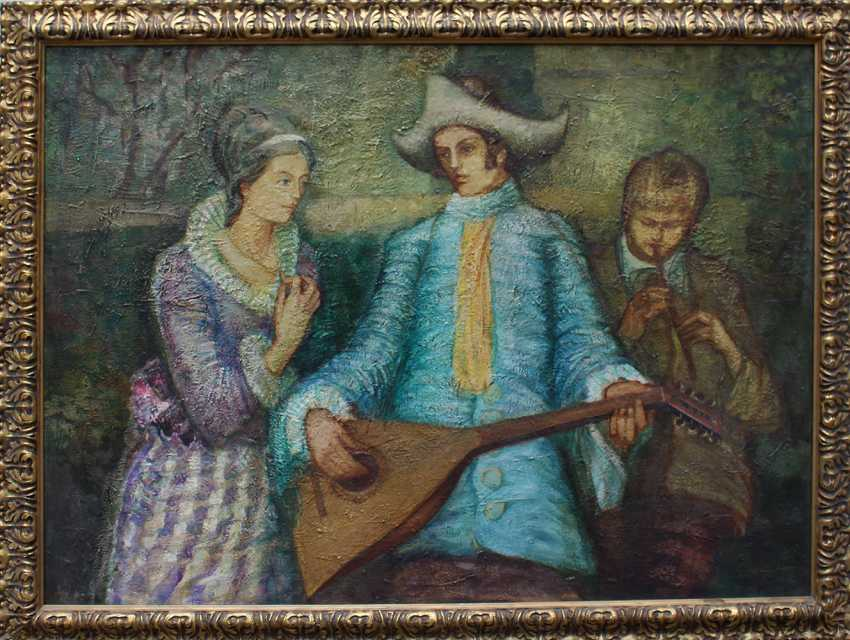 Czech artist around 1950, A lady and two music players - photo 1