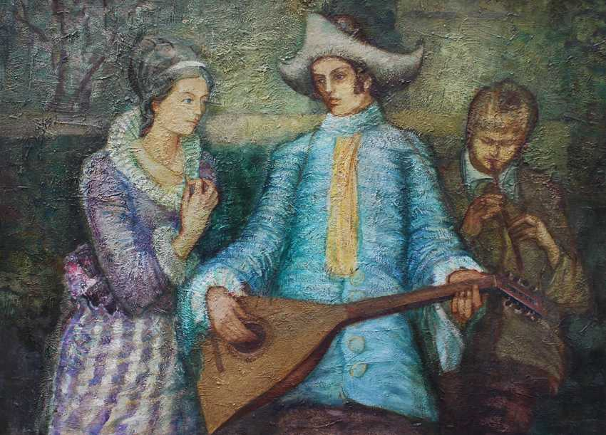 Czech artist around 1950, A lady and two music players - photo 2