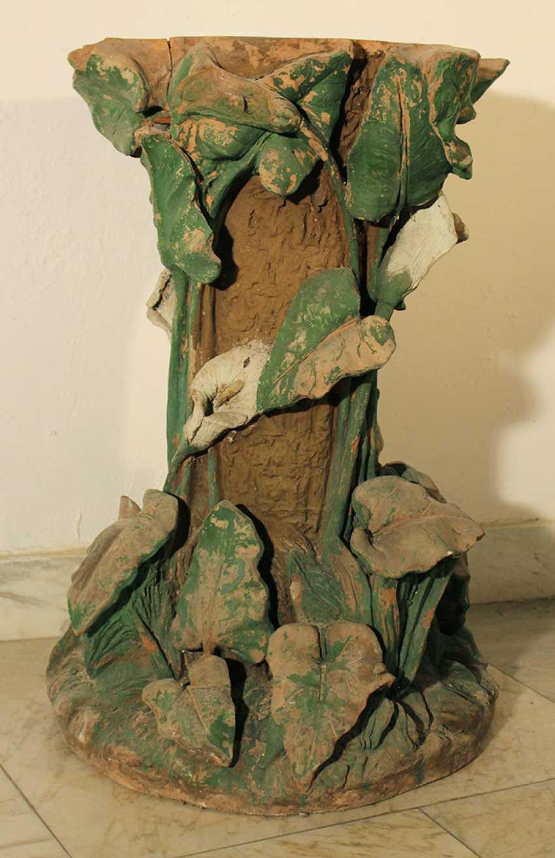 Art Nouveau terracotta column, richly floral sculpted and designed - photo 1