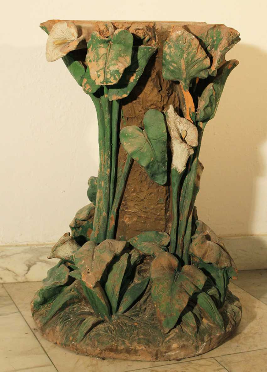 Art Nouveau terracotta column, richly floral sculpted and designed - photo 3