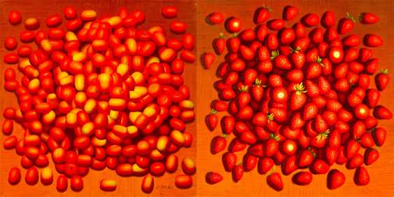 Chinese artist, Pair of still lives with tomatos and strawberries - photo 1