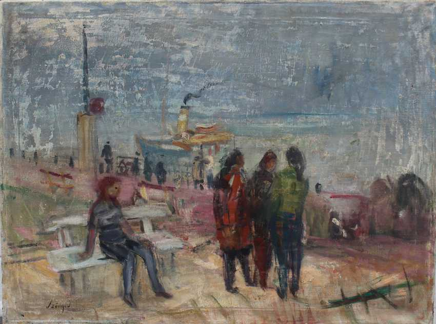 István Szőnyi (1894-1960)-attributed, Danube ferry station, oil on canvas, signed bottom left. - photo 1