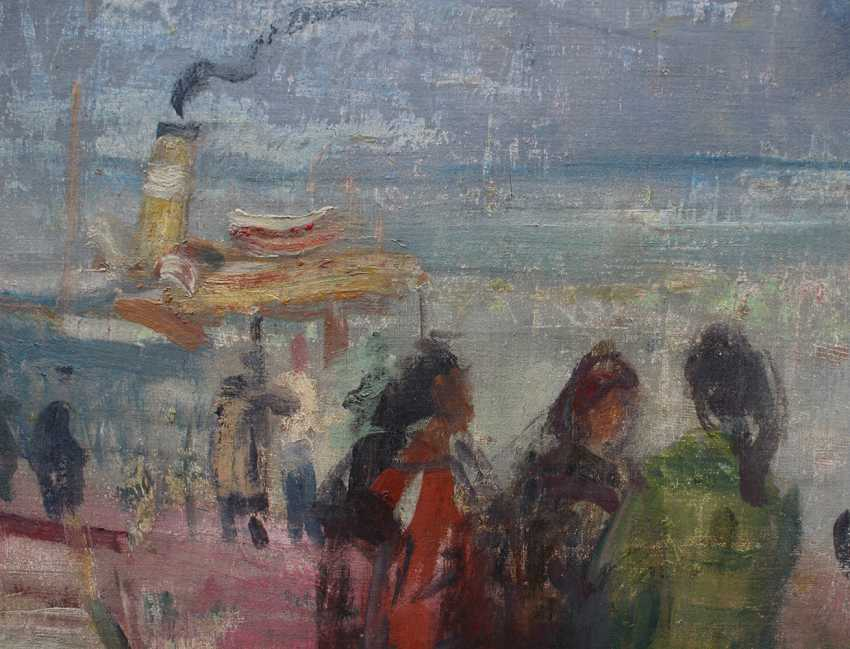 István Szőnyi (1894-1960)-attributed, Danube ferry station, oil on canvas, signed bottom left. - photo 3