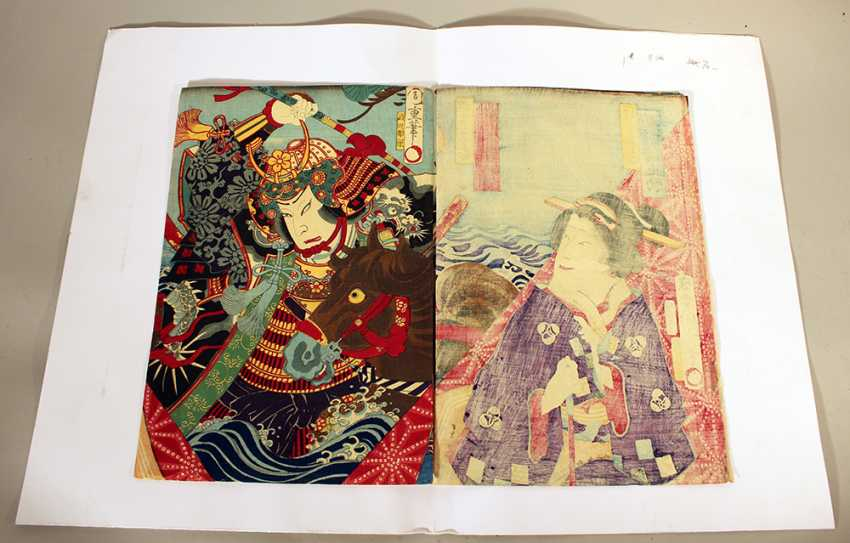 Japanese woodcut including three pages with coloured Geishas and a warrior with horse - photo 2
