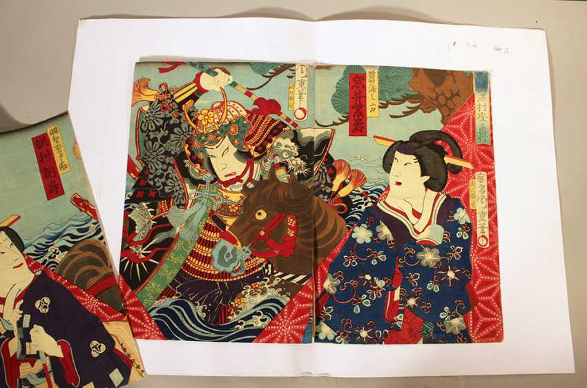 Japanese woodcut including three pages with coloured Geishas and a warrior with horse - photo 3