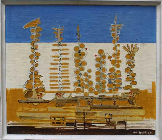 Artist around 1970, Fantastic composition, oil on board - photo 1