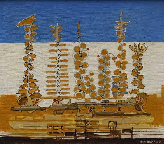 Artist around 1970, Fantastic composition, oil on board - photo 2
