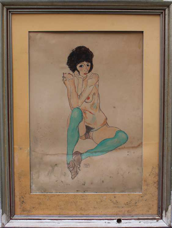Egon Schiele (1890-1918)-after, Female nude with green stockings - photo 1