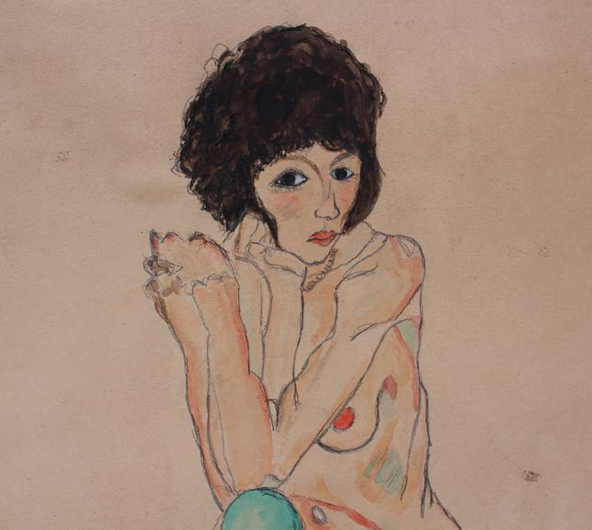 Egon Schiele (1890-1918)-after, Female nude with green stockings - photo 2