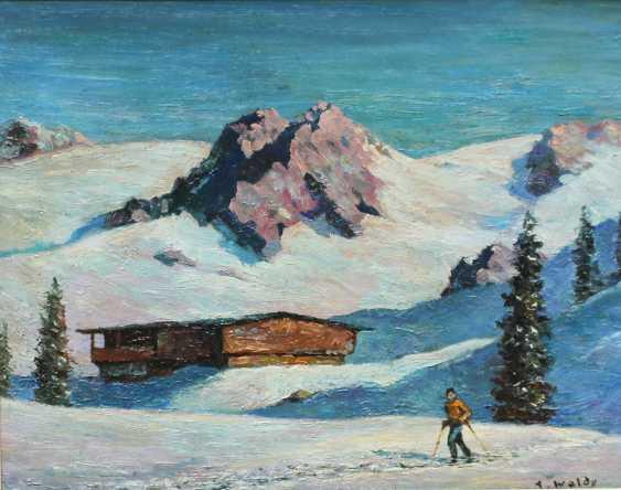 Austrian artist 20th Century, Skiing in the alps - photo 2