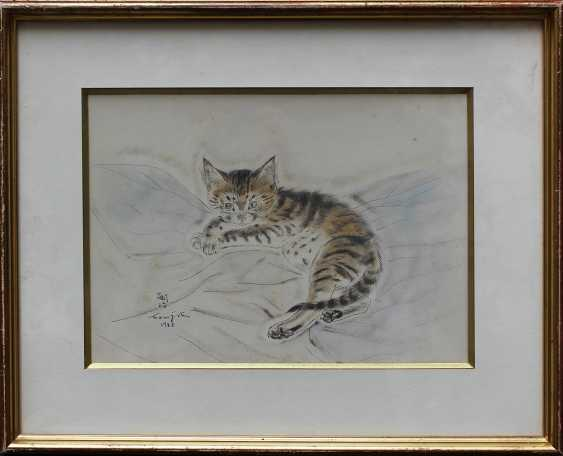 Tsuguharu-Léonard Foujita (1886-1968)-colour etching, signed in the stone and dated 1931, on paper, laid down on cardboard, in passe-par-tout - photo 1