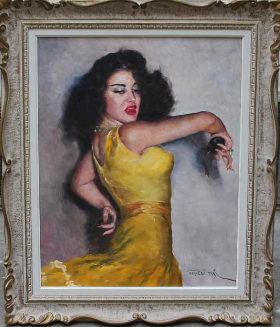 Pal Fried (1893-1976), Portrait of the flamenco dancer Carmen Amaya (1913-1963), oil on canvas, framed, signed bottom right - photo 1