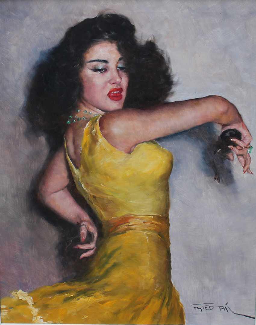 Pal Fried (1893-1976), Portrait of the flamenco dancer Carmen Amaya (1913-1963), oil on canvas, framed, signed bottom right - photo 2