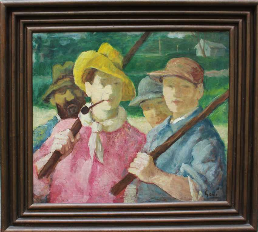 Gedo Lipot (1887-1952), Polo players, oil on canvas, signed bottom right, framed - photo 1