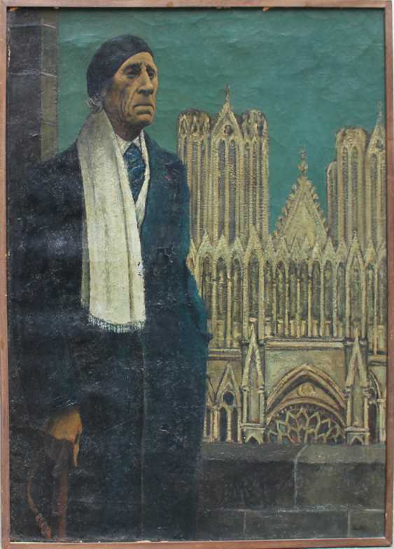 Symbolist School, Portrait of Paul Fort (1872 – 1960) in front of a Gothic church - photo 1