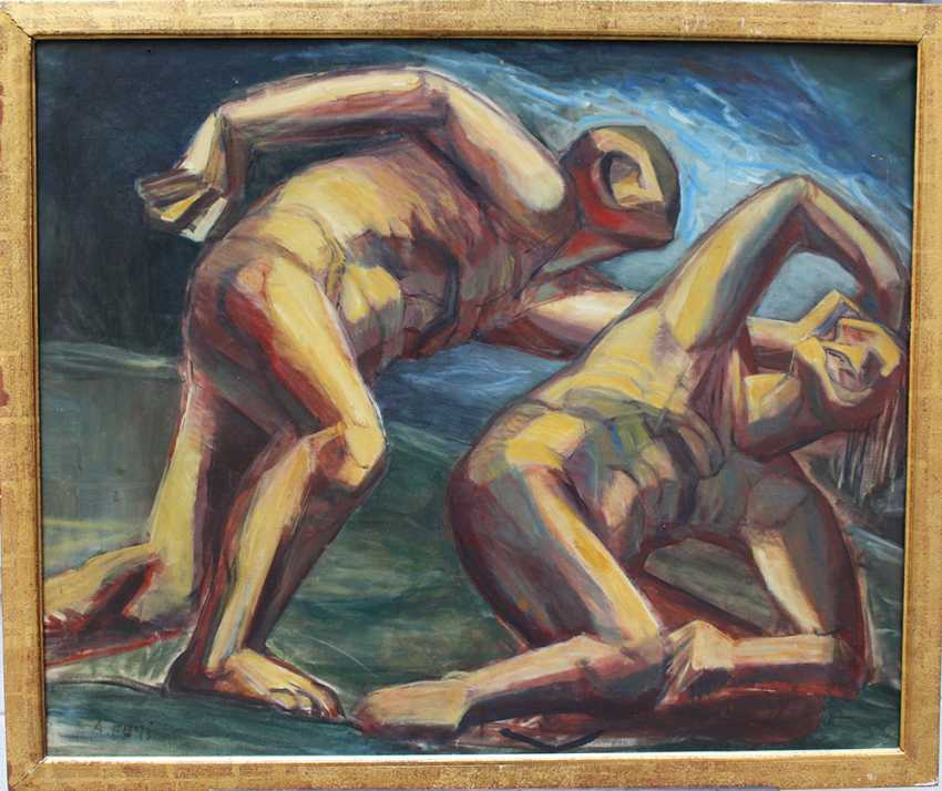 Achille Funi (1890-1972)-attributed, Two male nudes in landscape - photo 1