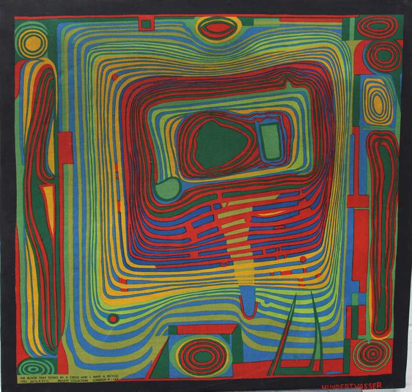 "Friedensreich Hundertwasser (1928-2000)-after, Textile print titled ""The Blood that flows in a Circle and I have a bicycle"" - photo 1"