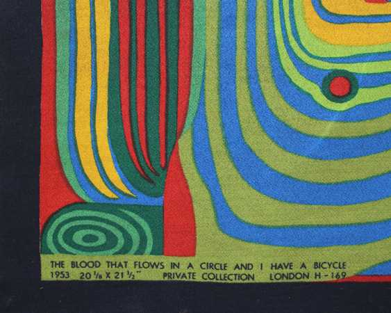 "Friedensreich Hundertwasser (1928-2000)-after, Textile print titled ""The Blood that flows in a Circle and I have a bicycle"" - photo 2"