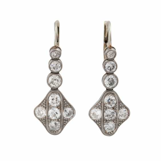 Earrings with 16 old European cut diamonds, together approx. 1,4-1,5 ct, - photo 1