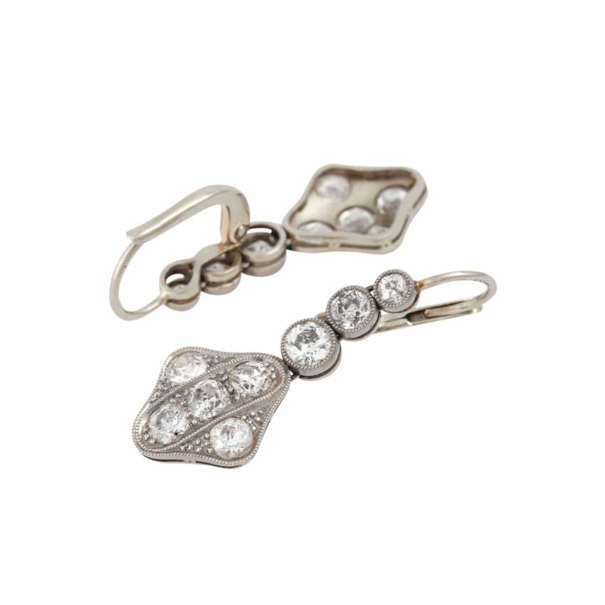 Earrings with 16 old European cut diamonds, together approx. 1,4-1,5 ct, - photo 3