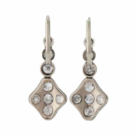 Earrings with 16 old European cut diamonds, together approx. 1,4-1,5 ct, - photo 4