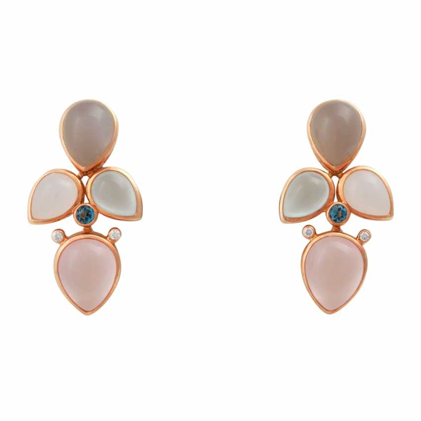 Pair of earrings with precious stones: - photo 1