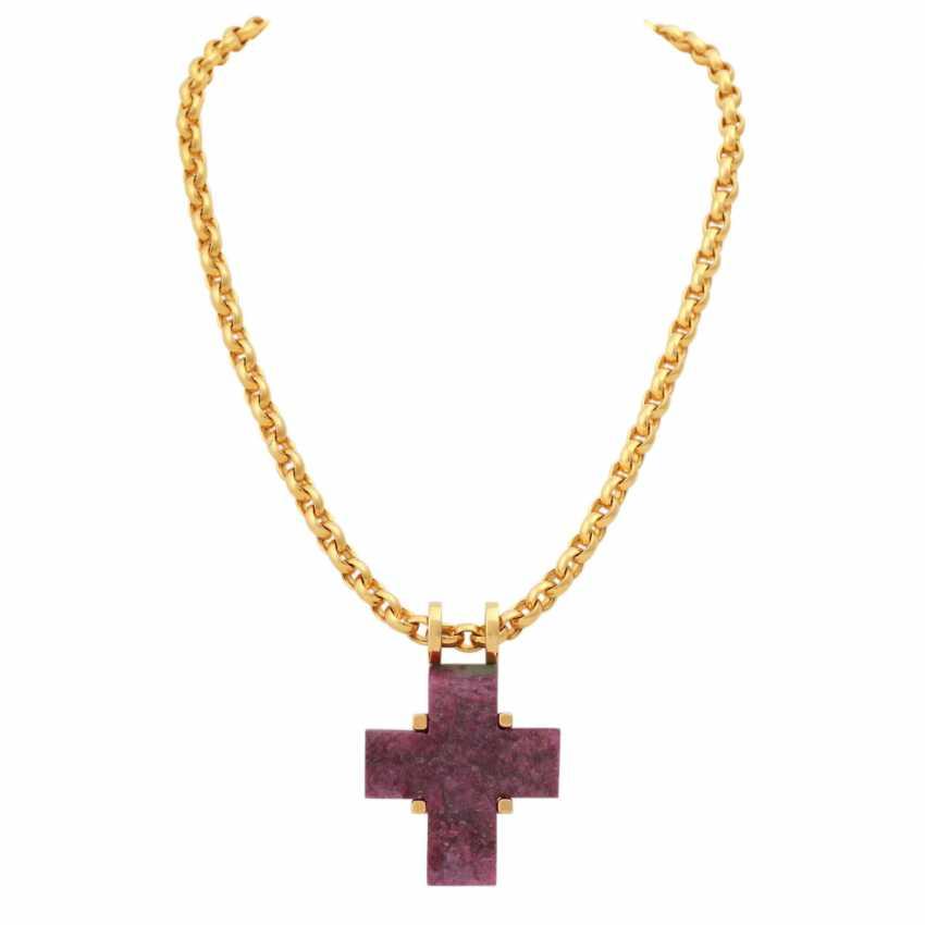 Chain and cross pendant ruby/Fuchsite, - photo 1