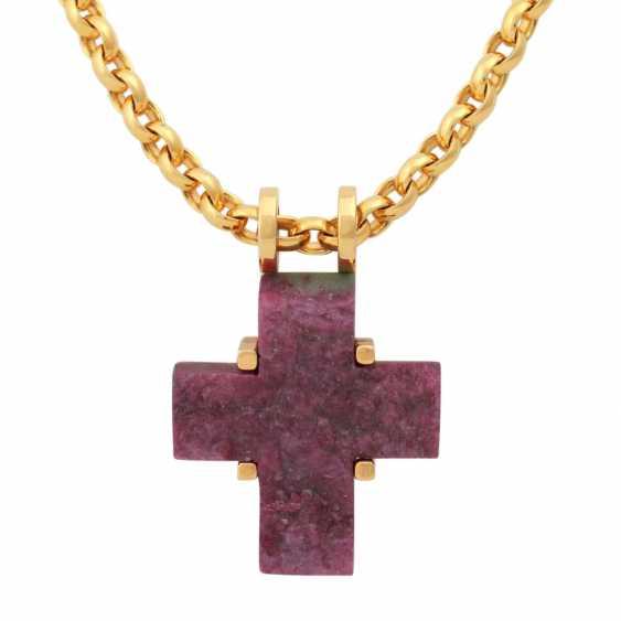 Chain and cross pendant ruby/Fuchsite, - photo 2