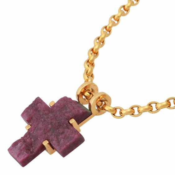 Chain and cross pendant ruby/Fuchsite, - photo 4
