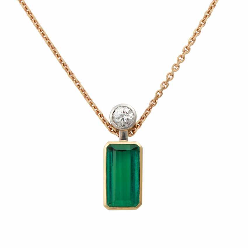 Pendant with green tourmaline - photo 1