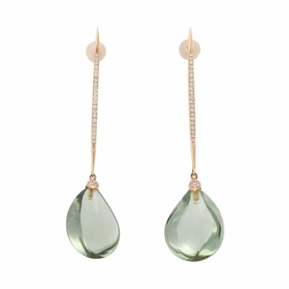 Pair of drop earrings with green amethysts - photo 1