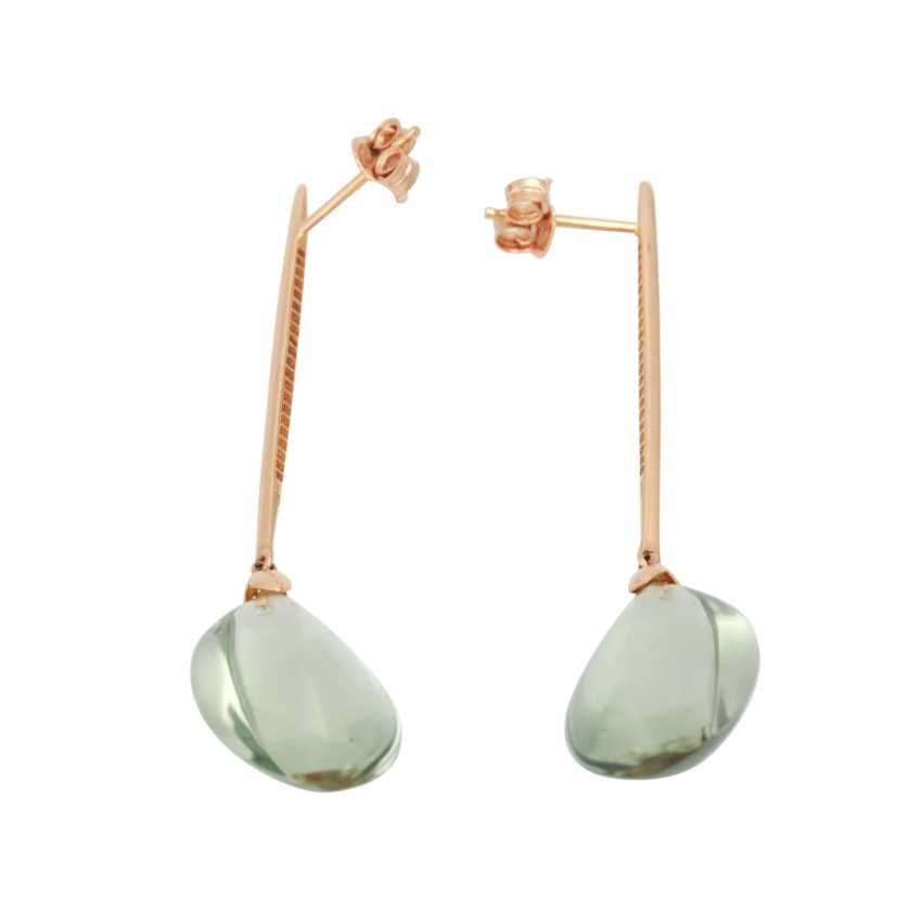 Pair of drop earrings with green amethysts - photo 4