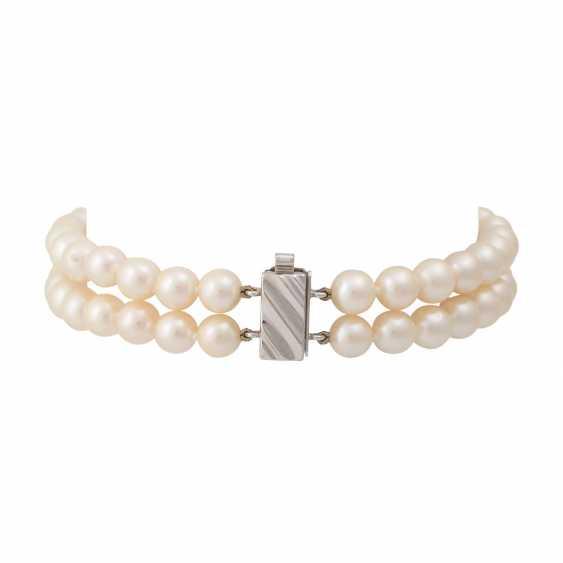 Bracelet 2 rows of Akoya pearls, - photo 2