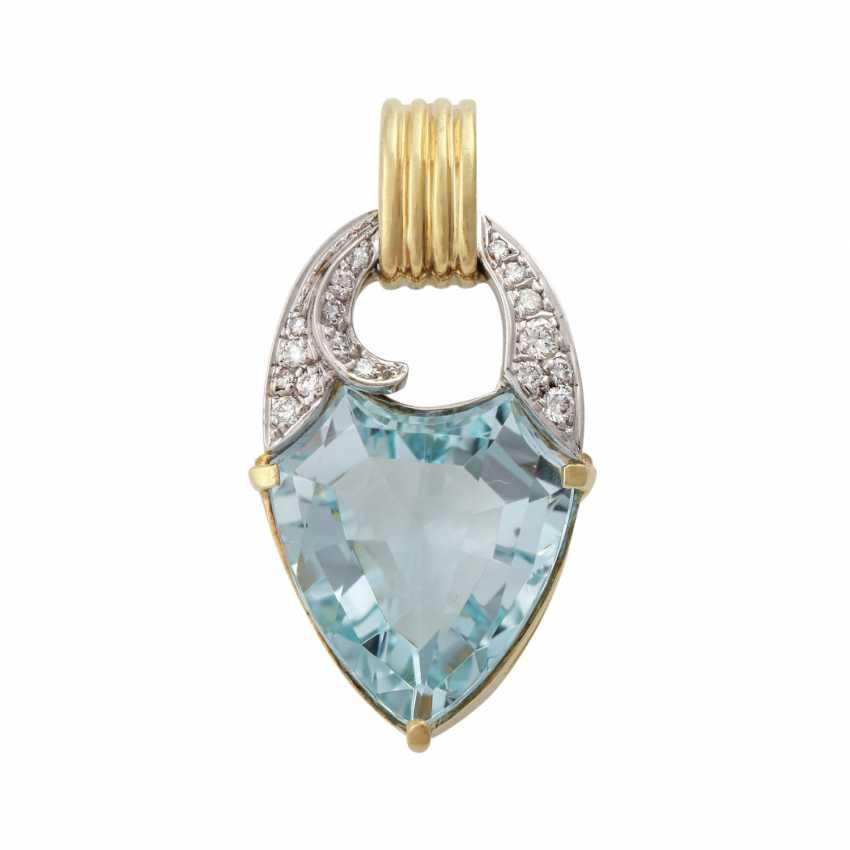 Clip pendant with blue Topaz in a fancy cut and brilliant-cut diamonds - photo 1