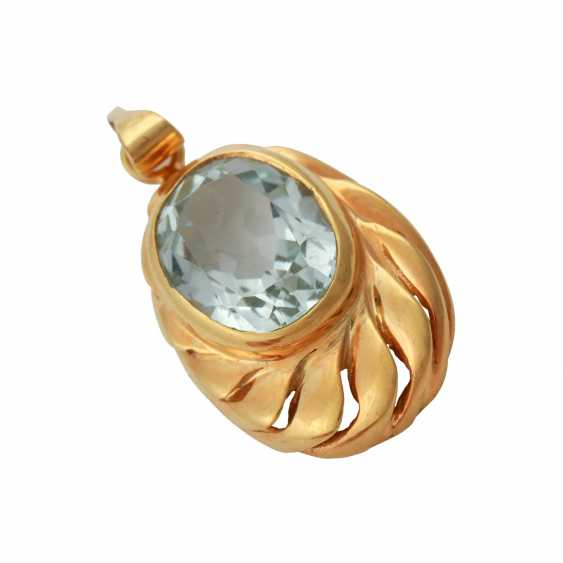 Pendant with aquamarine, approx. 3 ct, - photo 4