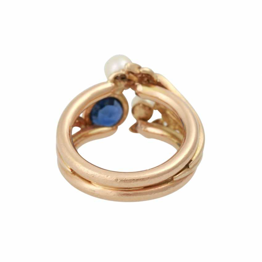 Ring with sapphire approx 0.75 ct and small diamonds - photo 4