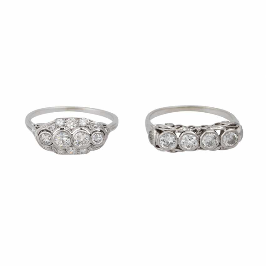 Mixed lot of 2 Art Deco rings with diamonds - photo 1