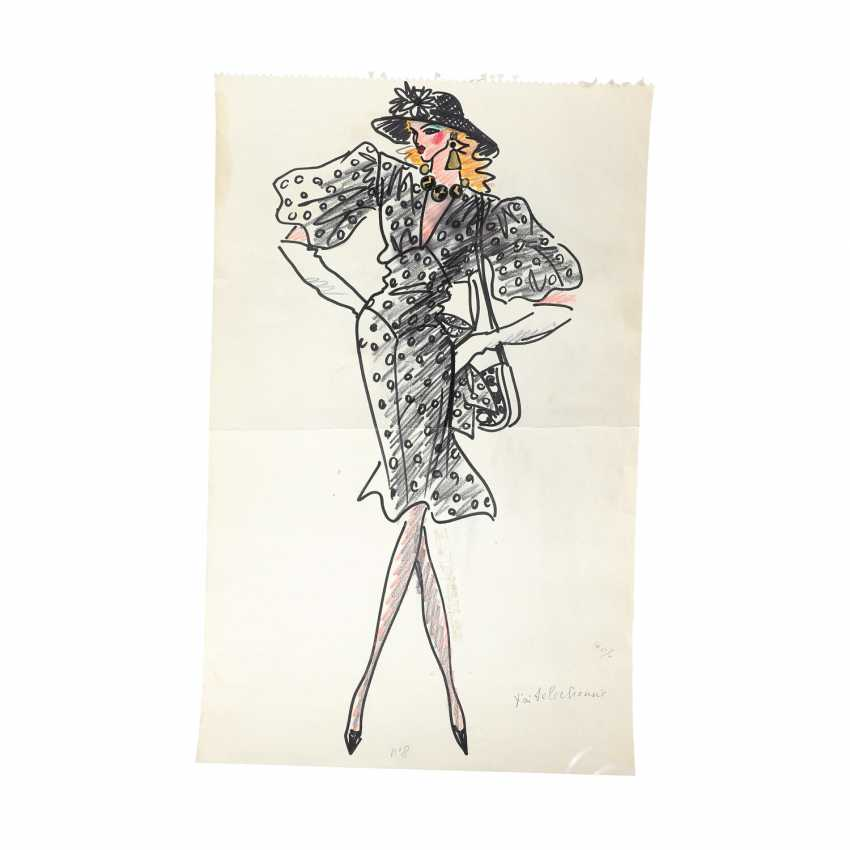 6 design drawings for women's dresses, 1980's. - photo 1