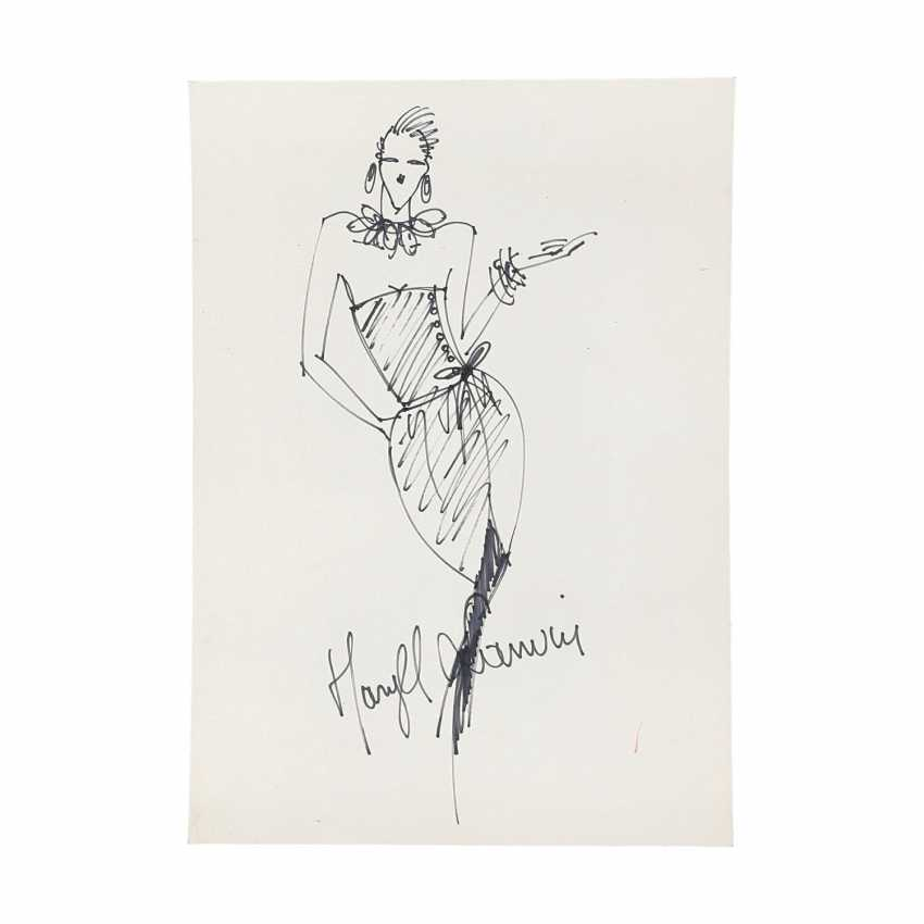 6 design drawings for women's dresses, 1980's. - photo 2