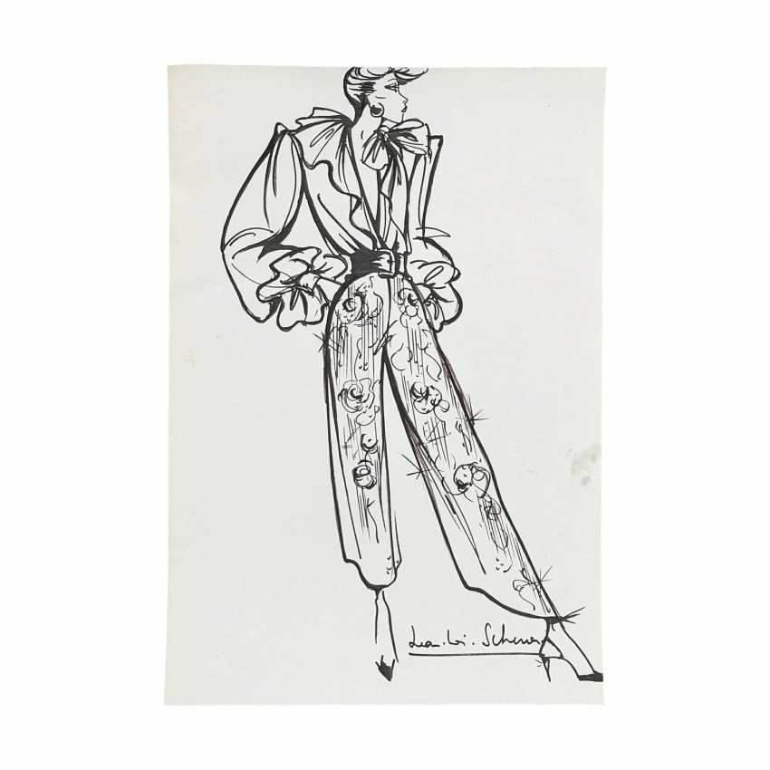 6 design drawings for women's dresses, 1980's. - photo 4