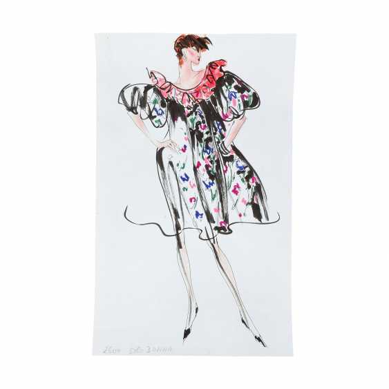 6 design drawings for women's dresses, 1980's. - photo 5