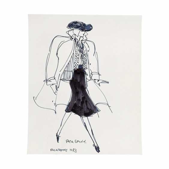 6 design drawings for women's dresses, 1980's. - photo 6