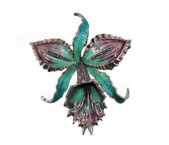 Art Deco Orchideenbrosche, - photo 1
