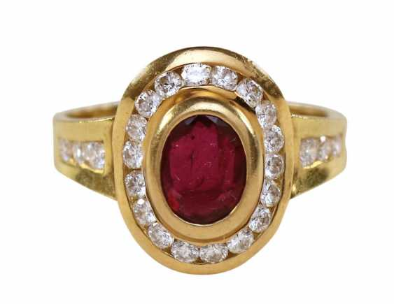Brillant Rubin Ring 750 Yellow Gold. - photo 1