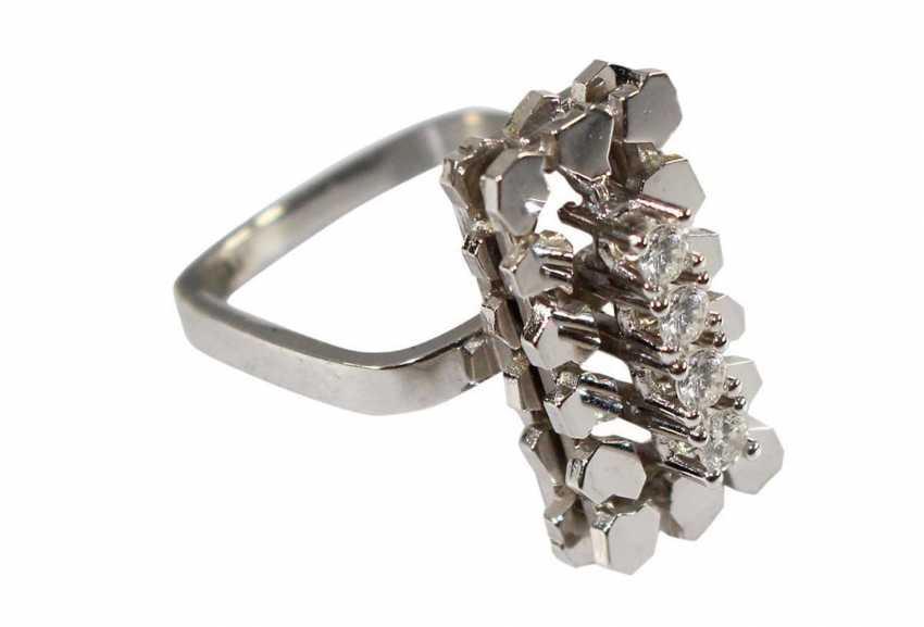 Design Ring In 585 White Gold - photo 1